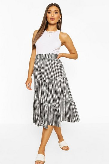Mono Diamond Check Tiered Mini Skirt