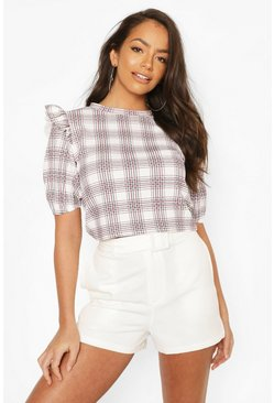 Mono Check Frill Shoulder Top