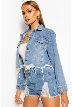 Blue Distressed Crop Denim Jacket