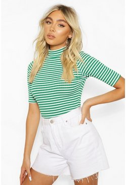 Green Striped Rib Turtle Neck Body