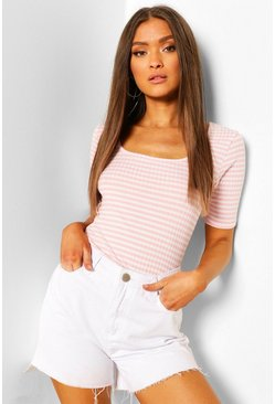 Pink Striped Rib Scoop Neck Top
