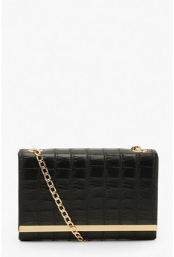 Black Croc Structured Metal Trim Cross Body Bag