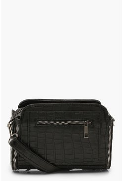 Black Croc PU Zip Detail Cross Body Bag