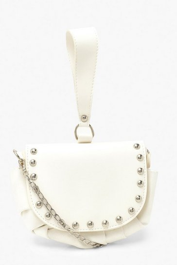 White Stud Detail Grab Bag With Cross Body Strap