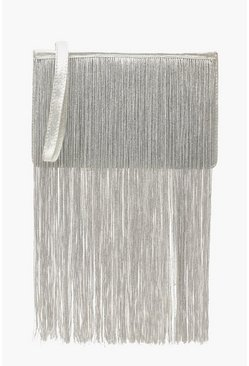 Silver Extreme Fringe Zip Top Clutch Bag