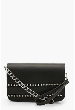 Black Bead Detail Clutch Bag With Wristlet & Chain