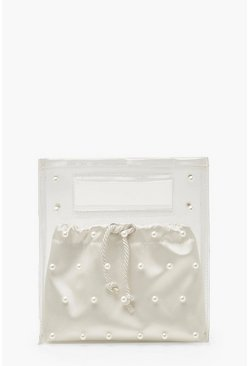 White Pearl Clear Bag With Satin Pouch