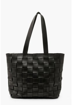 Black PU Weave Tote Bag