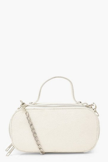 White Crackled PU Double Zip Cross Body Bag