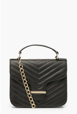 Black Chevron Quilted Bar Detail Cross Body Bag