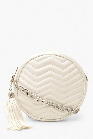 White Chevron Quilt & Tassel Cross Body Bag & Chain