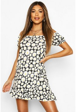 Black Daisy Print Off Shoulder Swing Dress