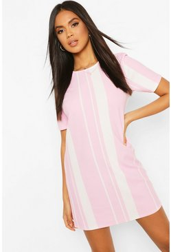 Pink Mixed Stripe Shift Dress
