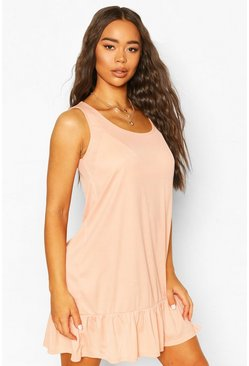 Peach Rib Sleeveless Drop Hem Shift Dress