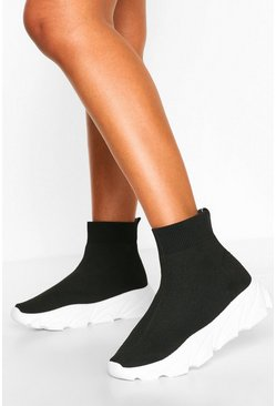 Black Chunky Sole Sock Sneakers