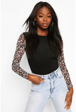 Black Animal Print Mesh Sleeves With Contrast Body