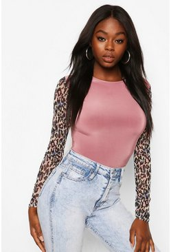 Pink Animal Print Mesh Sleeves With Contrast Body