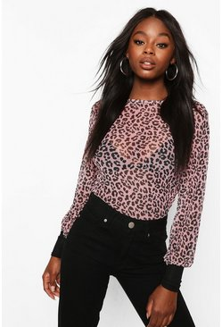 Pink Leopard Mesh Top With Contrast Cuffs