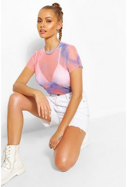 Tie Dye Mesh Love Flock Top, Pink