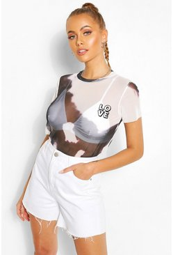White Tie Dye Mesh Love Flock Top