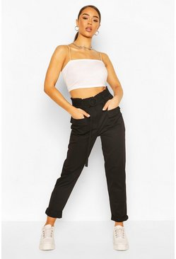 Black Belted Paper Bag Pants