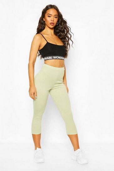 Olive High Waist Micro Ribbed Crop Legging