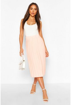 Peach Woven Pleated Midi Skirt