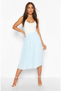 Baby blue Woven Pleated Midi Skirt