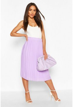 Lilac Woven Pleated Midi Skirt