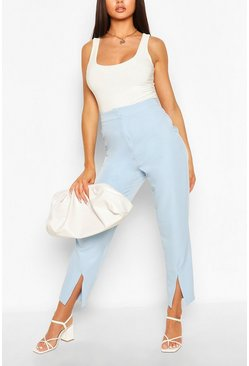 Baby blue Split Front Tailored Woven Pants