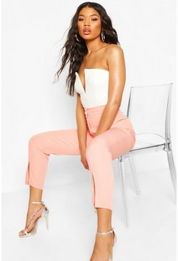 Coral Split Front Tailored Woven Pants