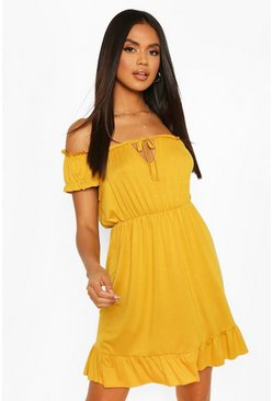 Mustard Jersey Tie Detail Babydoll Dress