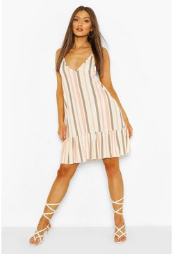 White Stripe Strappy Frill Hem Smock Dress