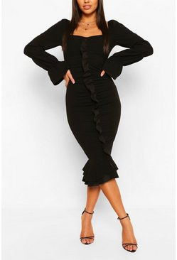 Black Ruffle Detail Puff Sleeve Midi Dress