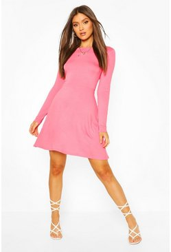 Coral Cut Out Back Puff Sleeve Skater Dress
