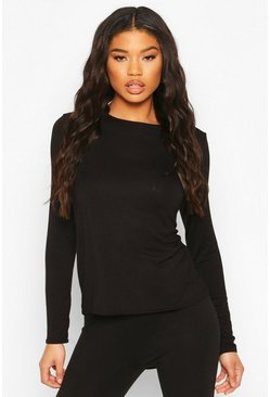 Black Basic Jersey Loose Fit Long Sleeve Gym Top