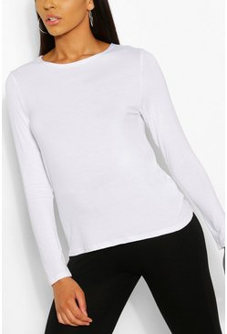 White Basic Jersey Loose Fit Long Sleeve Gym Top