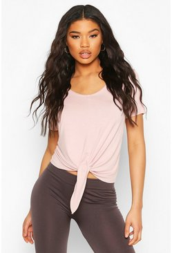 Blush Fit Basic Jersey Loose Fit Gym Tie Front T-shirt
