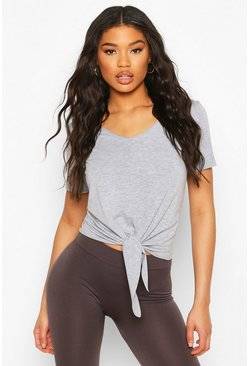 Grey Fit Basic Jersey Loose Fit Gym Tie Front T-shirt
