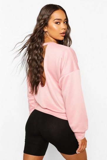 Rose Fit Cut Out Back Gym Sweater