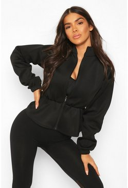 Black Fit Neoprene Peplum Sports Jacket