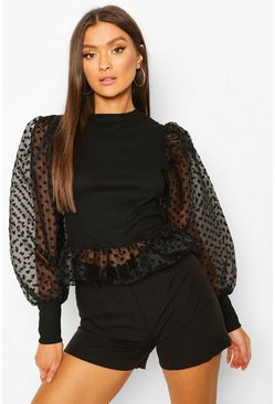 Black Heart Mesh Sleeve Peplum Top