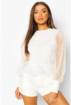 White Heart Mesh Sleeve Peplum Top