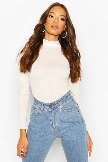 Cream Lettuce Hem Turtle Neck Rib Bodysuit