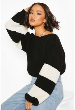 Black Balloon Sleeve Stripe Sweater