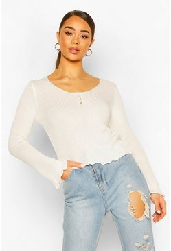 Rib Knit Ruffle Detail Pearl Button Top, Cream