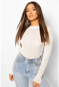 Cream Ruffle Hem Rib Knit Top