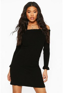 Black Ruffle Hem Bardot Mini Dress