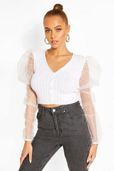 White Rib Knit Organza Sleeve Crop Cardigan