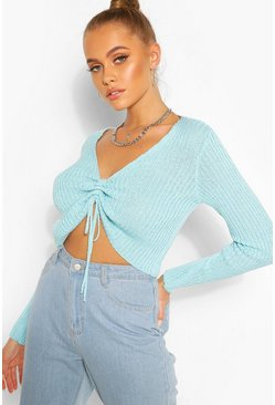 Baby blue Ribbed Ruched Front Top